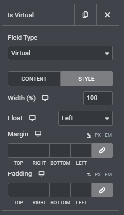 Virtual product Style tab